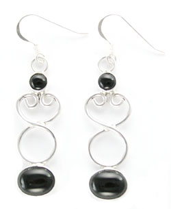 Black Onyx Dangle Earrings with Sterling Silver Filigree Design - Navajo Native American Handcrafted - DISCONTINUED