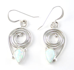 Sterling Silver Coil Earrings with Teardrop Shaped Synthetic White Opal - Navajo Native American Handcrafted - DISCONTINUED