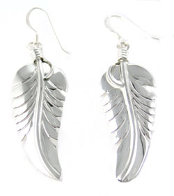 All Sterling Silver Long Dangle Feather Earrings - Navajo Native American Handcrafted - DISCONTINUED