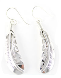 All Sterling Silver Curvy Dangle Feather Earrings - Navajo Native American Handcrafted - DISCONTINUED