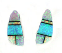 Multi Color Inlay Synthetic Opal Post Earrings - Navajo Native American Handcrafted - DISCONTINUED