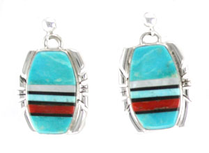 Multi Color Inlay Earrings with Ball Post  - Navajo Native American Handcrafted - DISCONTINUED