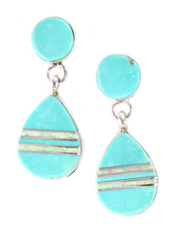 Inlay Turquoise and Opal Earrings with Post - Navajo Native American Handcrafted - DISCONTINUED