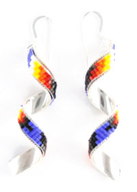Spiral Beaded Earrings - Navajo Native American Handcrafted - DISCONTINUED