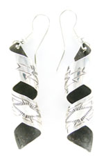All Sterling Silver Etched Twist Earrings - Navajo Native American Handcrafted - DISCONTINUED
