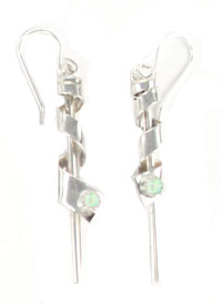 Sterling Silver Spiral Earrings with Synthetic White Opal Stone - Navajo Native American Handcrafted - DISCONTINUED