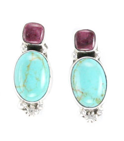 Turquoise and Purple Spiny Earrings with Post - Navajo Native American Handcrafted - DISCONTINUED