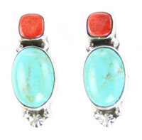 Turquoise & Red Spiny Earrings with Post - Navajo Native American Handcrafted - DISCONTINUED