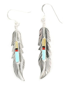 Sterling Silver Feather Earrings with Multi Color Stones - Navajo Native American Handcrafted - DISCONTINUED