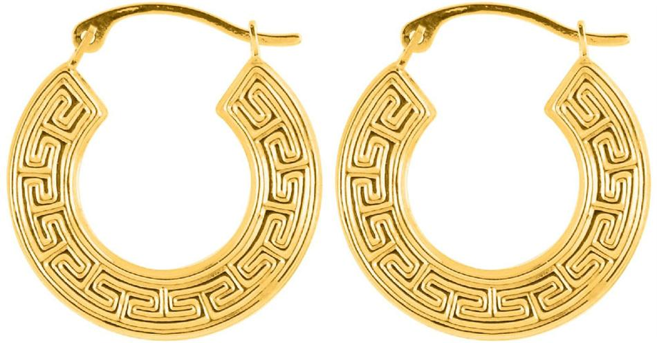 14K Yellow Gold Polished Textured Flat Round Small Hoop Earrings
