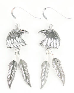All Sterling Silver Diamond Cut Eagle Head Earrings - DISCONTINUED
