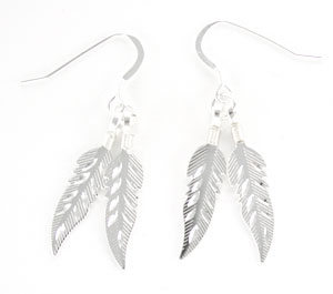 All Sterling Silver Diamond Cut Feather Earrings - DISCONTINUED