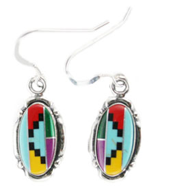 Oval Multi Color Cabochon Earrings - DISCONTINUED