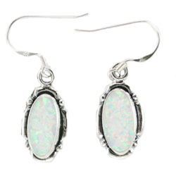 Long Oval Synthetic Opal Earrings - DISCONTINUED