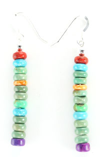 Long Rondelle Dangle Earrings - Native American Handcrafted - DISCONTINUED