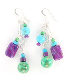 Multi Stone Chandelier Earrings - Native American Handcrafted - DISCONTINUED