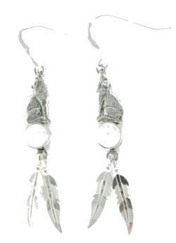 Sitting Wolf Earrings with Synthetic Opal Stone and Feathers - DISCONTINUED