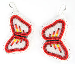 Large Beaded Butterfly Earrings on Leather - Navajo Native American Handcrafted - DISCONTINUED