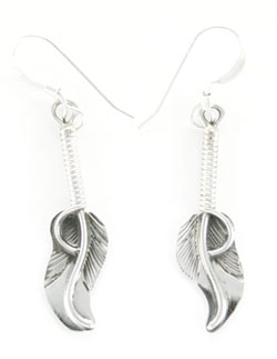 All Sterling Silver Wrapped Feather Earrings - Navajo Native American Handcrafted - DISCONTINUED