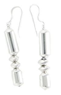 All Sterling Silver Rondelle and Tube Bead Earrings - Navajo Native American Handcrafted - DISCONTINUED