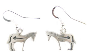 Hopi Style Horse Earrings - Navajo Native American Handcrafted - DISCONTINUED