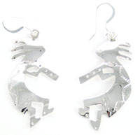 All Sterling Silver Kokopelli Earrings - Navajo Native American Handcrafted - DISCONTINUED