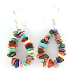 Multi Nugget Loop Earrings - Navajo Native American Handcrafted - DISCONTINUED