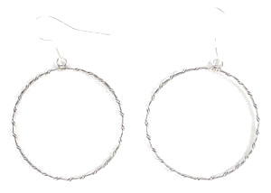 All Sterling Silver Thin Twist Wire Circle Earrings - Navajo Native American Handcrafted - DISCONTINUED