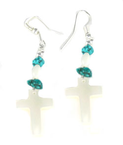 White Shell Cross Earrings with Turquoise Nuggets - Navajo Native American Handcrafted - DISCONTINUED