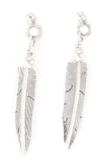 All Sterling Silver Feather Earrings - Navajo Native American Handcrafted - DISCONTINUED