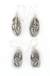 Oval Hopi Style Silver Earrings - Navajo Native American Handcrafted - DISCONTINUED