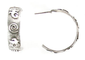 All Sterling Silver Post Earrings with Petroglyph Designs - Navajo Native American Handcrafted - DISCONTINUED