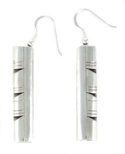 All Sterling Silver Dangle Earrings with Cut Out Design - DISCONTINUED