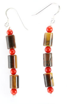 Tiger Eye & Coral Earrings with Sterling Wires - Navajo Native American Handcrafted - DISCONTINUED