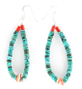Turquoise Earrings with Spiny Oyster and Coral Stones - Navajo Native American Handcrafted - DISCONTINUED