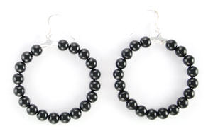 Black Onyx Bead Earrings - Navajo Native American Handcrafted - DISCONTINUED