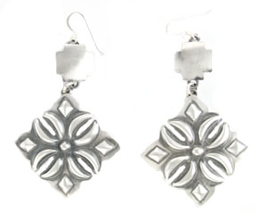 All Sterling Silver Tribal Design Dangle Earrings - Navajo Native American Handcrafted - DISCONTINUED