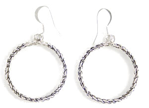 All Sterling Silver Twist Wire Circle Earrings - Navajo Native American Handcrafted - DISCONTINUED