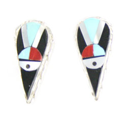 Multi Color Teardrop Inlay Earrings - Zuni Native American Handcrafted - DISCONTINUED