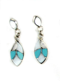 Marquise Dangle Inlay Earrings - Zuni Native American Handcrafted - DISCONTINUED