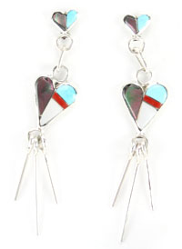 Multi Color Heart Inlay Earring - Zuni Native American Handcrafted - DISCONTINUED