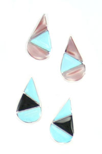 Multi Stone Inlay Small Teardrop Post Earrings - Zuni Native American Handcrafted - DISCONTINUED