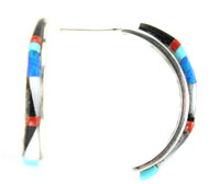 Multi Color Inlay Hoop Earring - Zuni Native American Handcrafted - DISCONTINUED