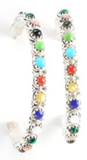 Multi Color Hoop Earring - Zuni Native American Handcrafted - DISCONTINUED