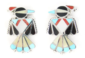 Multi Stone Thunderbird Inlay Earrings - Zuni Native American Handcrafted - DISCONTINUED