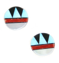 Multi Stone Inlay Post Earrings - Zuni Native American Handcrafted - DISCONTINUED