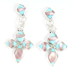 Turquoise and Pink Shell Cross Earring - Zuni Native American Handcrafted - DISCONTINUED