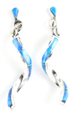 Inlay Synthetic Opal Twist Earring - Zuni Native American Handcrafted - DISCONTINUED