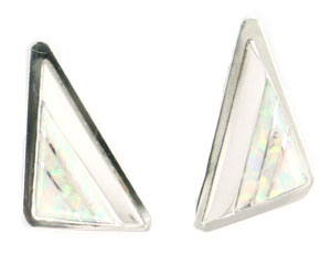Triangle Shaped Synthetic Opal Inlay Earring - Zuni Native American Handcrafted - DISCONTINUED