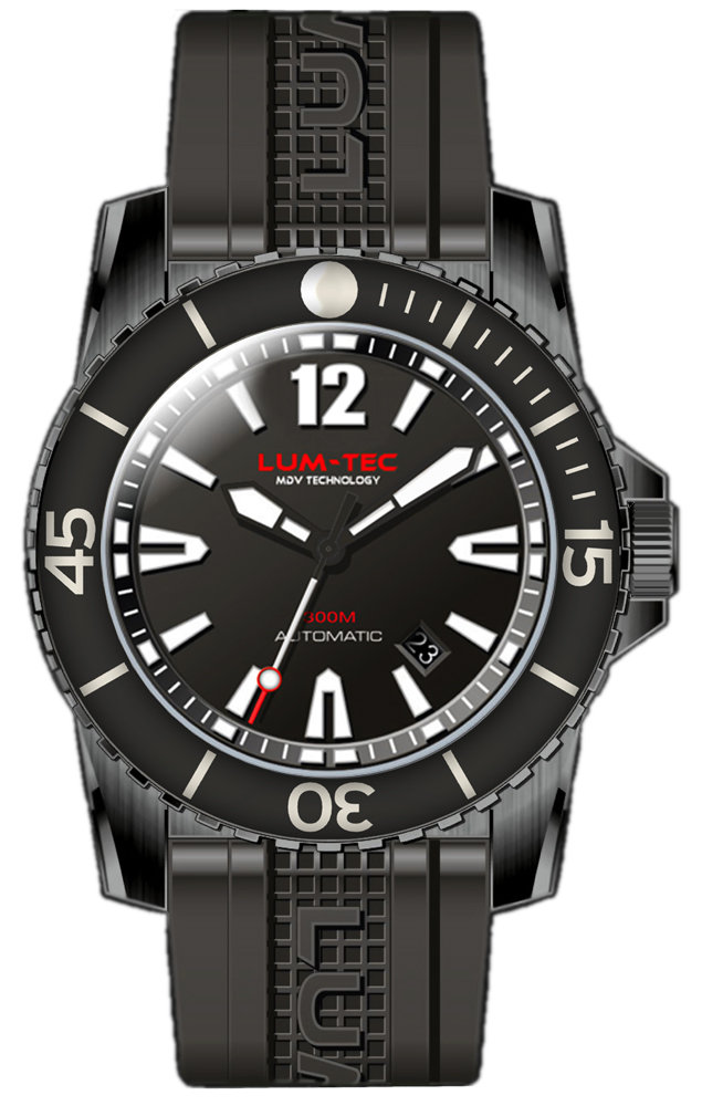 Lum-Tec Watch - 300M-2XL - 45mm Automatic Mens Diver w/ Black PVD Stainless Steel & Rubber